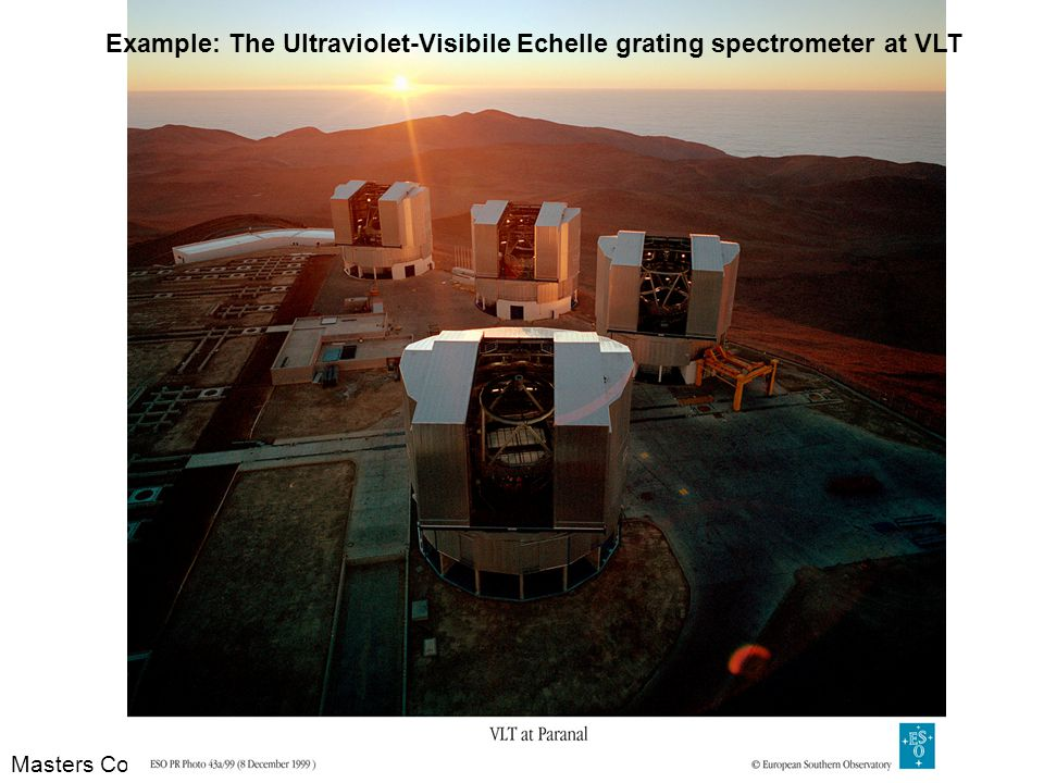 Example: The Ultraviolet-Visibile Echelle grating spectrometer at VLT