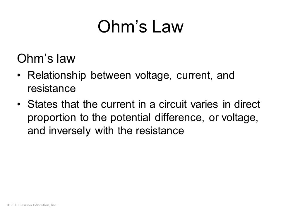 Ohm's Law Ohm's law. Relationship between voltage, current, and resistance.
