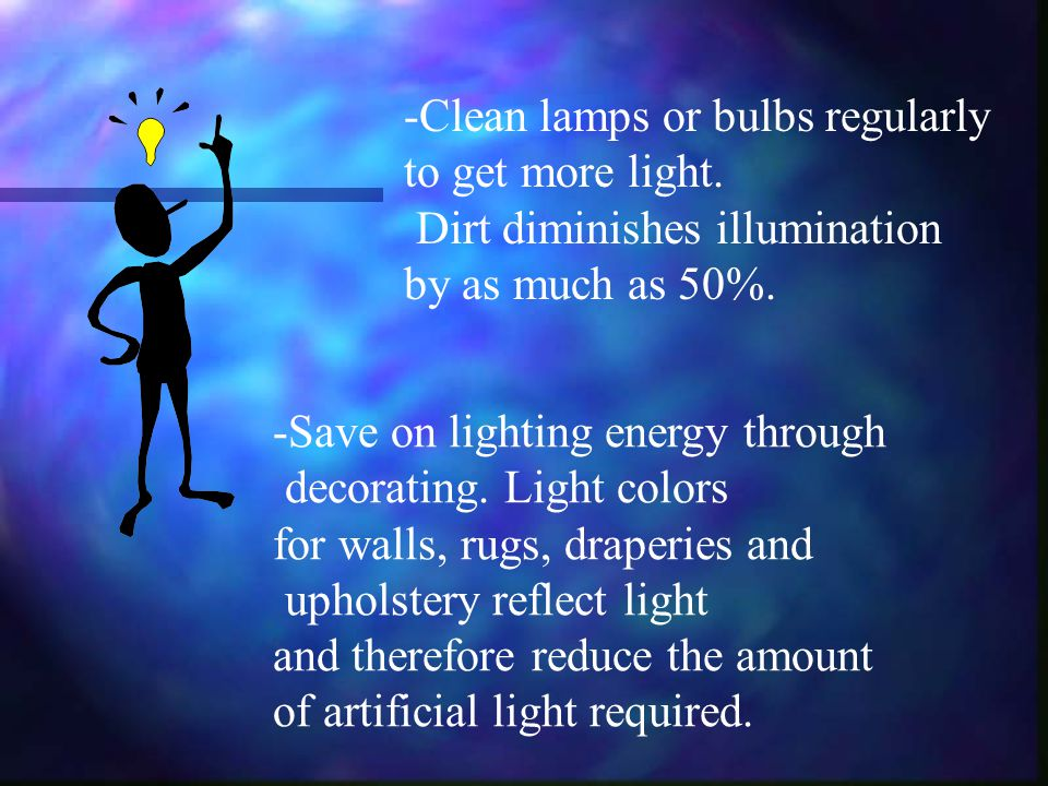 -Clean lamps or bulbs regularly