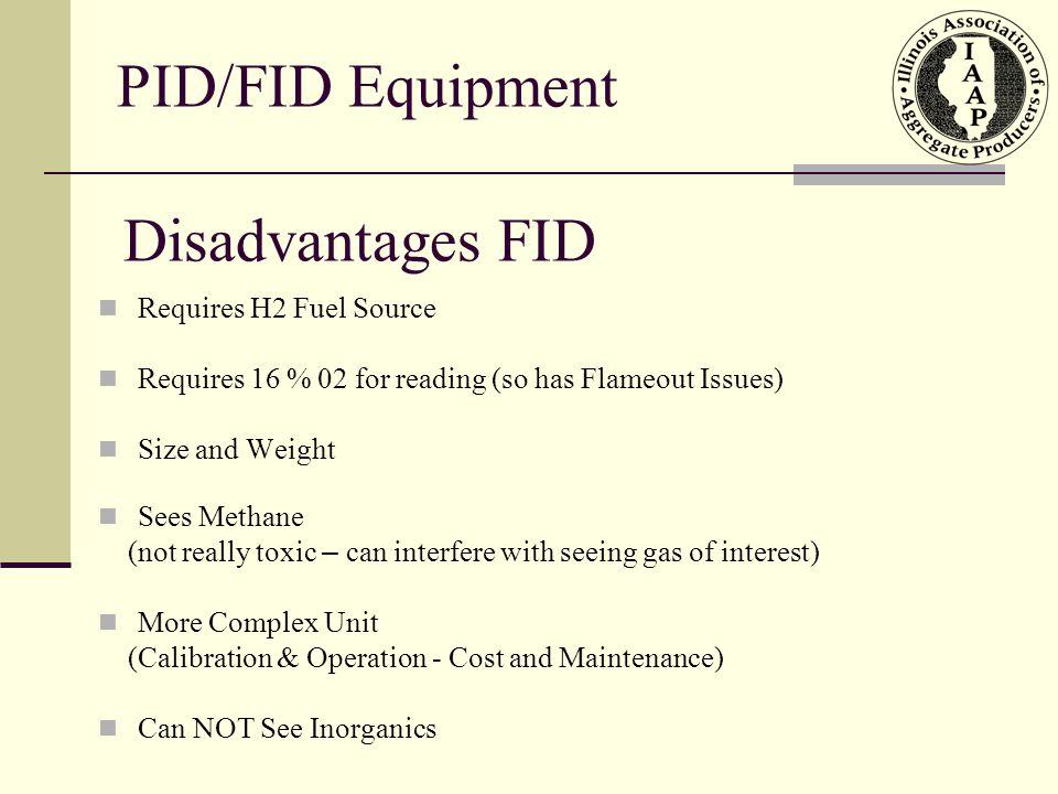 PID/FID Equipment Disadvantages FID Requires H2 Fuel Source