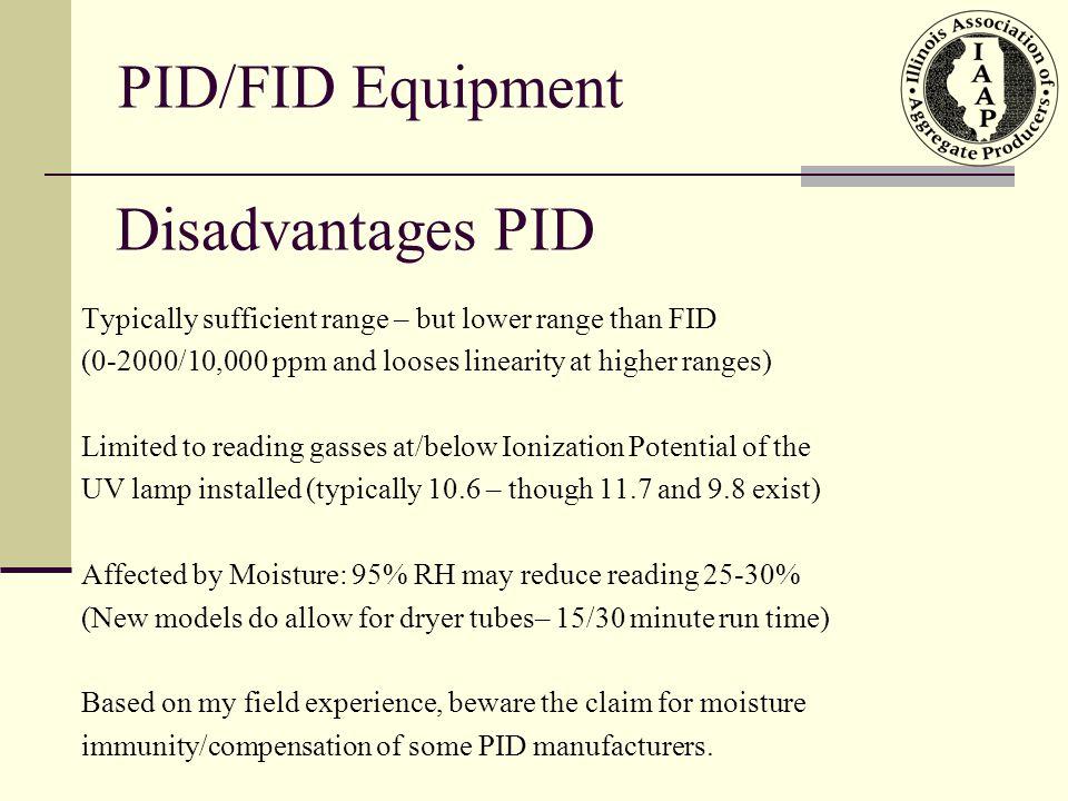 PID/FID Equipment Disadvantages PID
