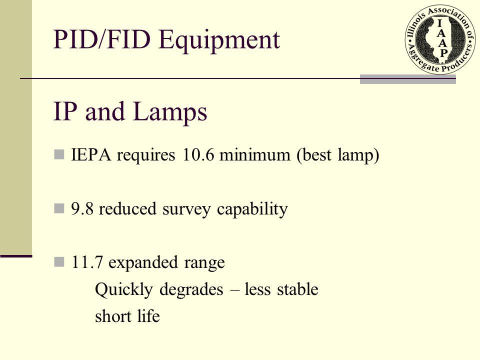 PID/FID Equipment IP and Lamps IEPA requires 10.6 minimum (best lamp)