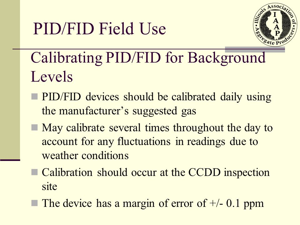 Calibrating PID/FID for Background Levels