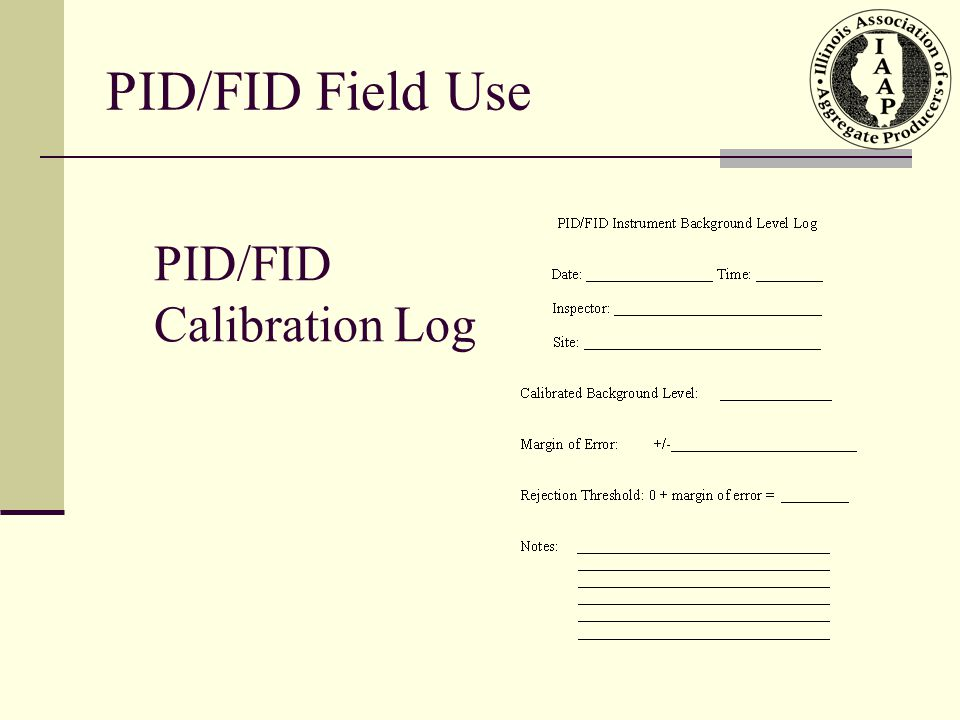 PID/FID Calibration Log