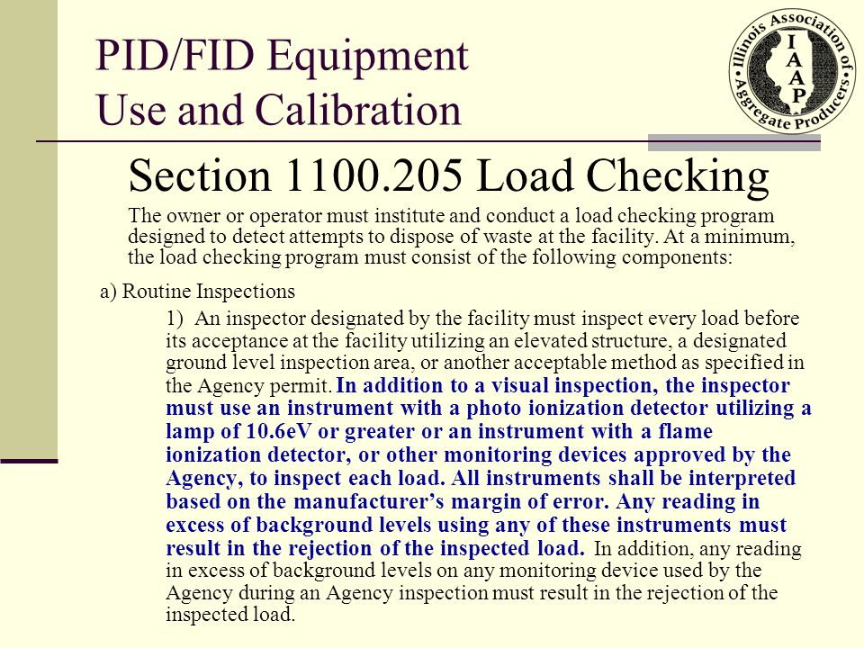 PID/FID Equipment Use and Calibration