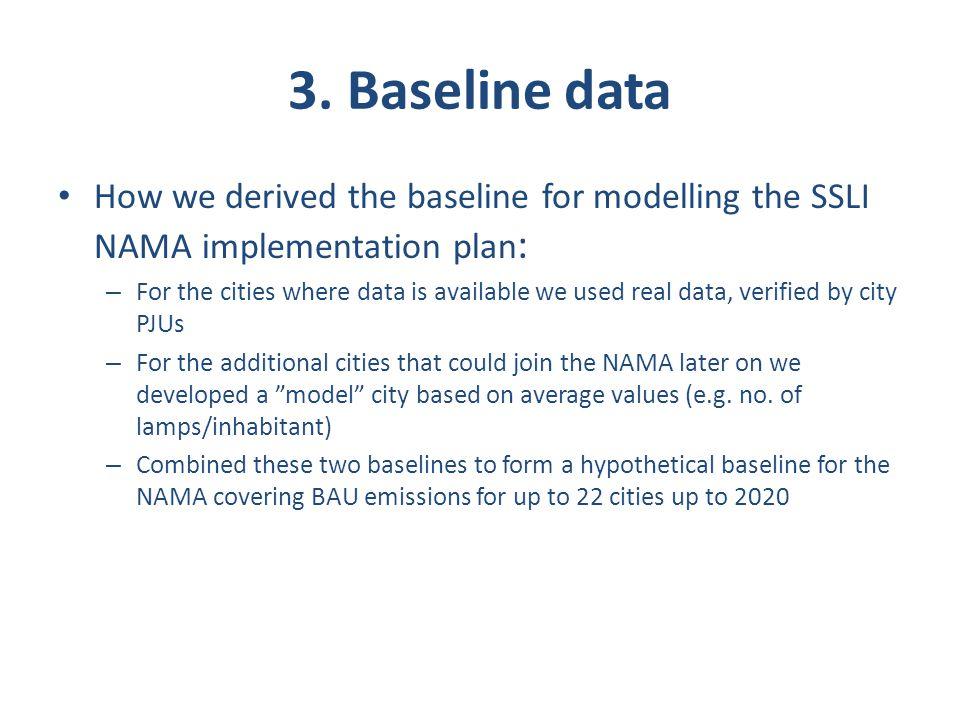 3. Baseline data How we derived the baseline for modelling the SSLI NAMA implementation plan: