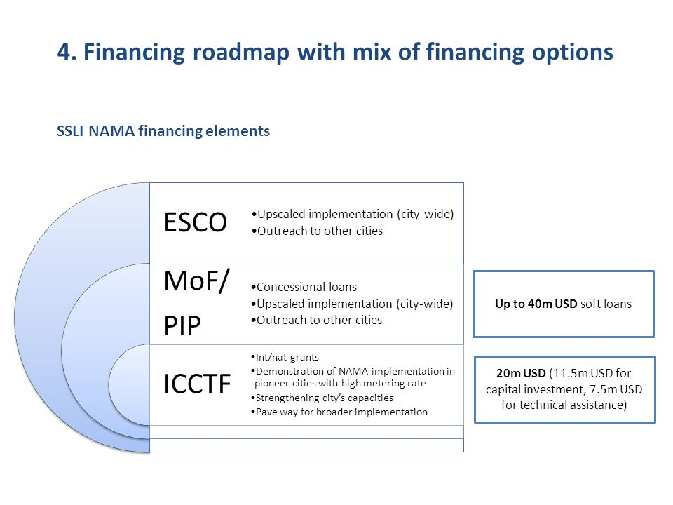4. Financing roadmap with mix of financing options