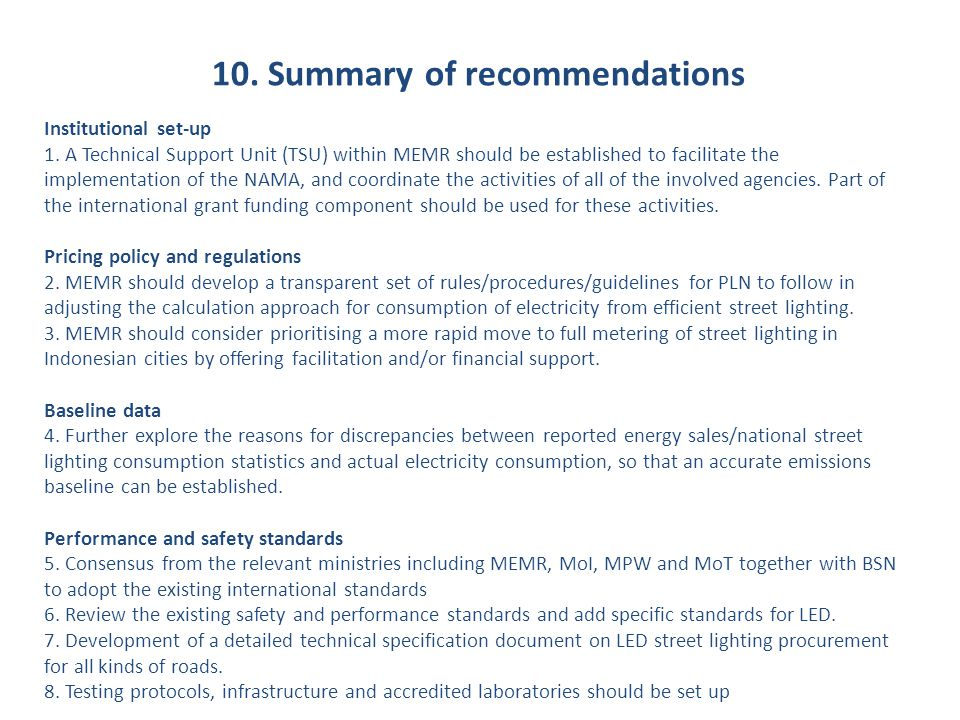 10. Summary of recommendations