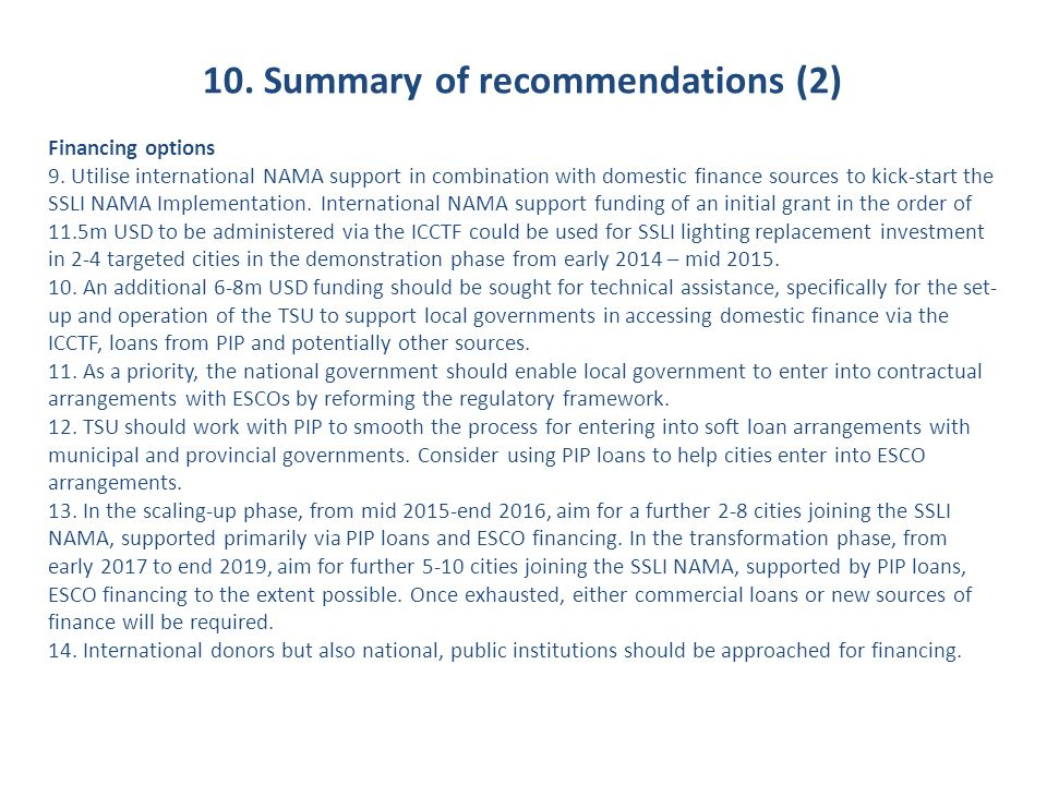 10. Summary of recommendations (2)