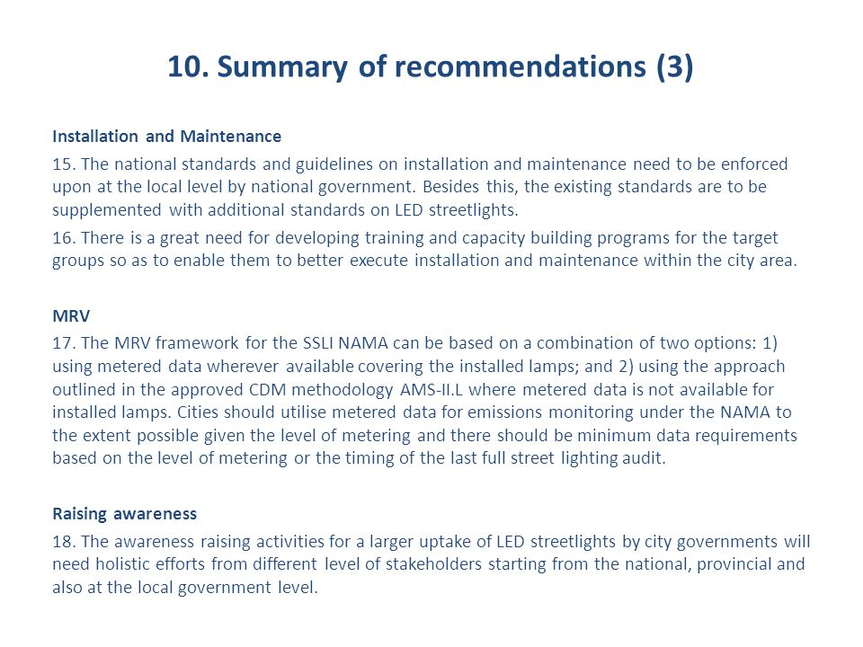 10. Summary of recommendations (3)