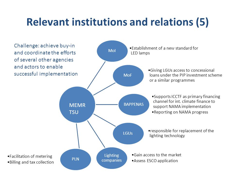 Relevant institutions and relations (5)