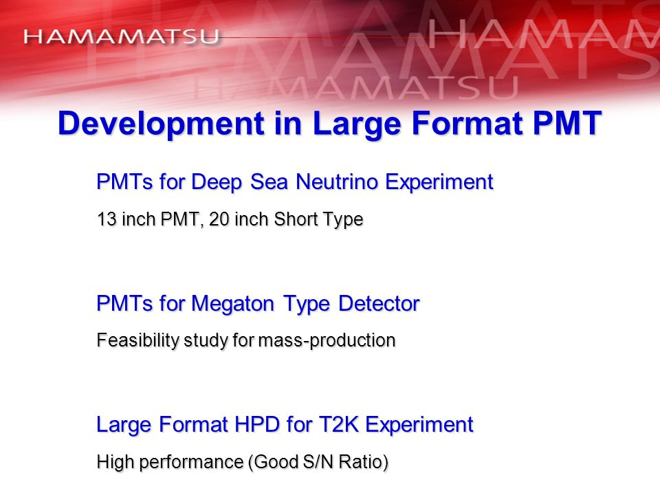 Development in Large Format PMT
