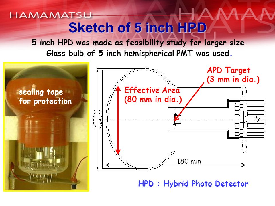 Sketch of 5 inch HPD 5 inch HPD was made as feasibility study for larger size. Glass bulb of 5 inch hemispherical PMT was used.
