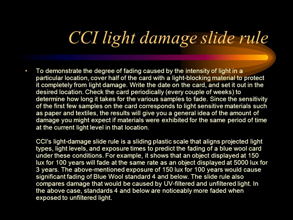 CCI light damage slide rule