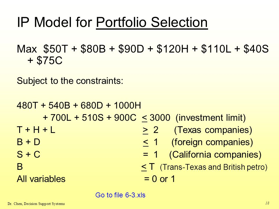 IP Model for Portfolio Selection