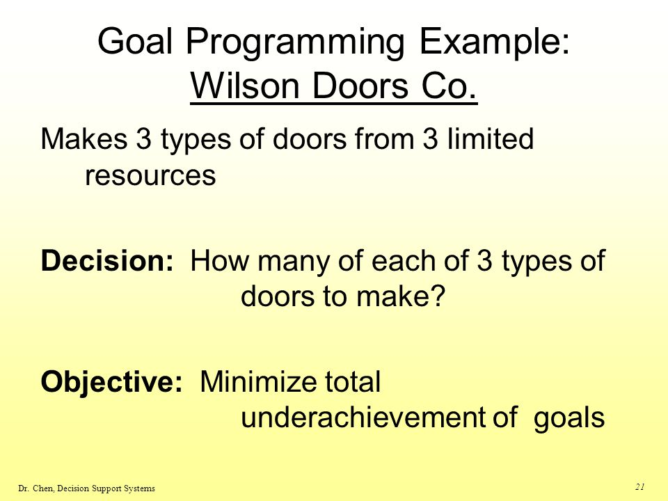 Goal Programming Example: Wilson Doors Co.