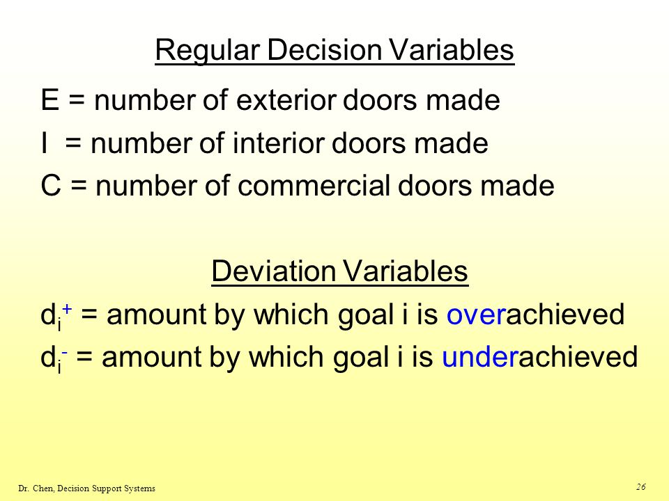 Regular Decision Variables