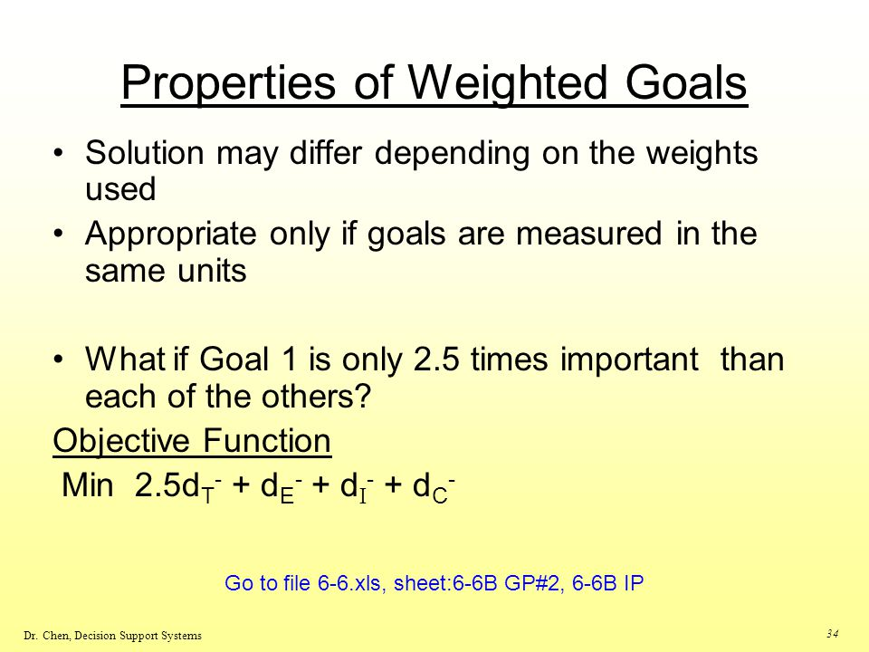 Properties of Weighted Goals