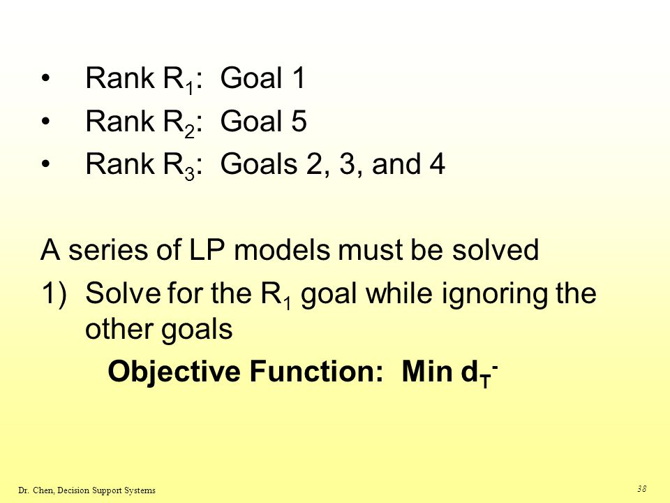 Rank R1: Goal 1 Rank R2: Goal 5. Rank R3: Goals 2, 3, and 4. A series of LP models must be solved.