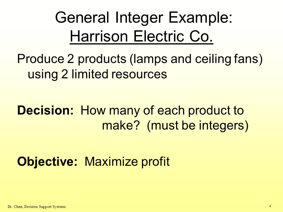 General Integer Example: Harrison Electric Co.