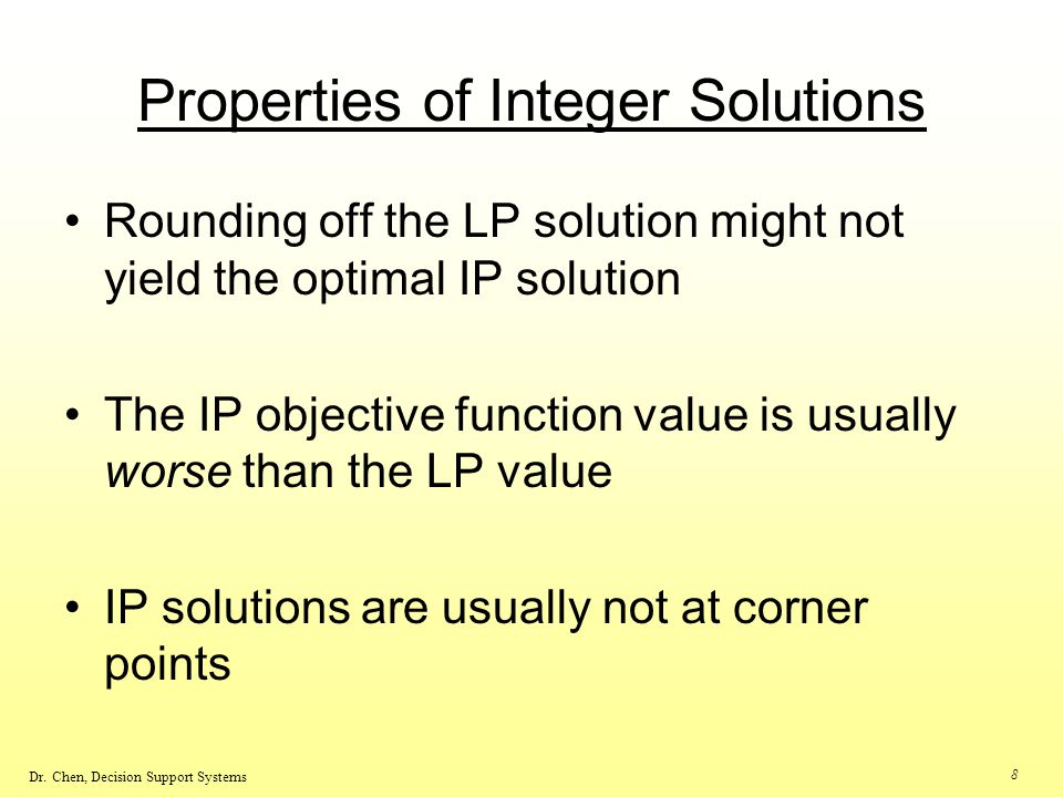 Properties of Integer Solutions