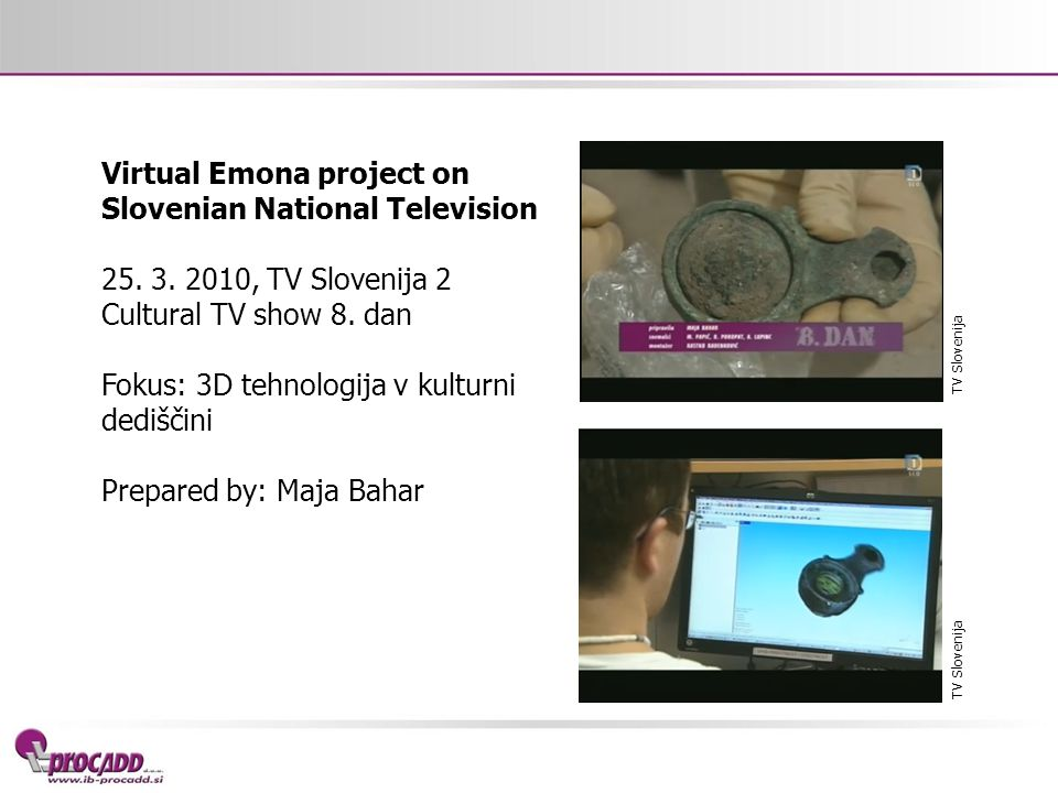 Virtual Emona project on Slovenian National Television