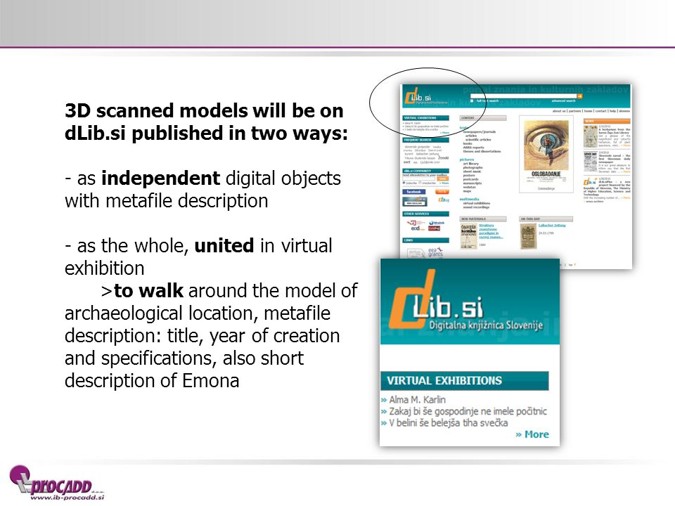 3D scanned models will be on dLib.si published in two ways: