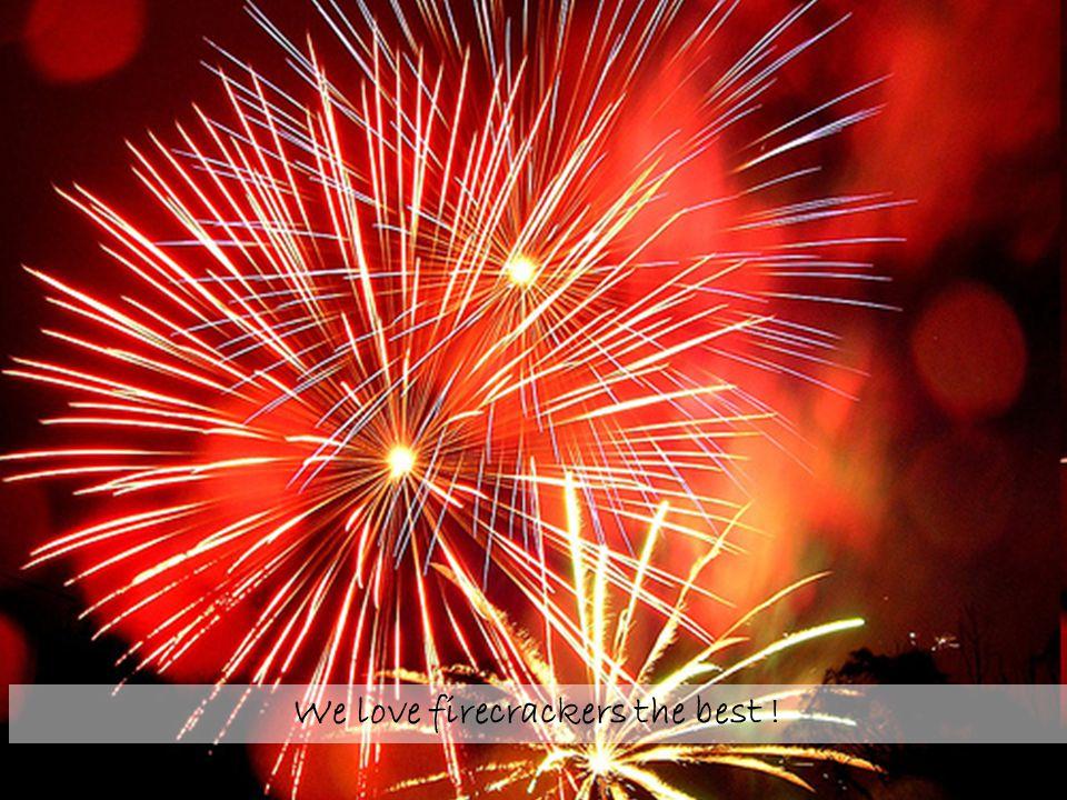 We love firecrackers the best !