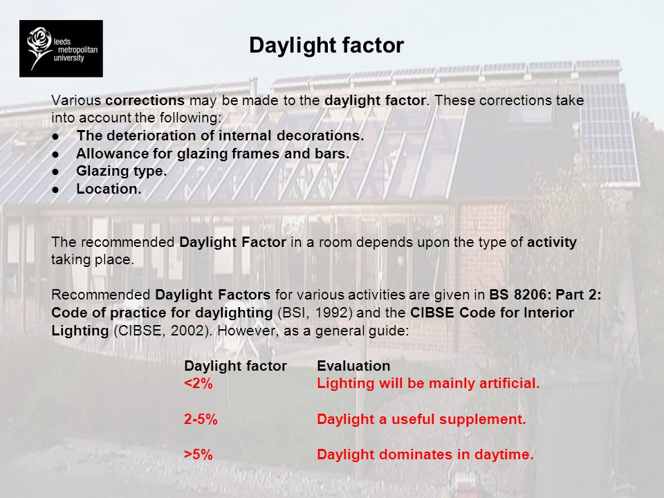 Daylight factor Various corrections may be made to the daylight factor. These corrections take. into account the following: