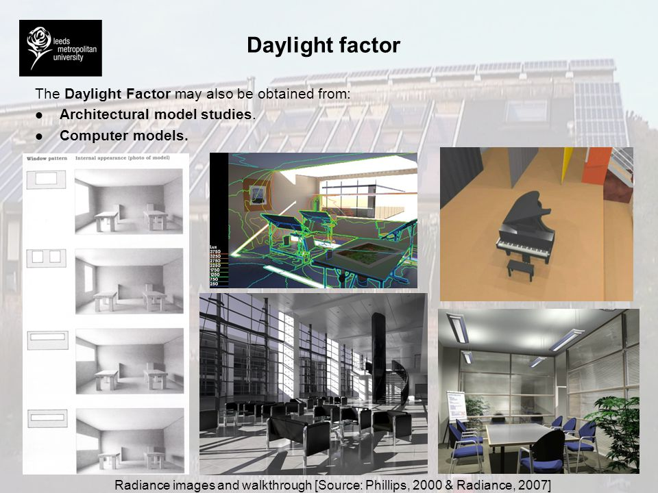 Daylight factor The Daylight Factor may also be obtained from: