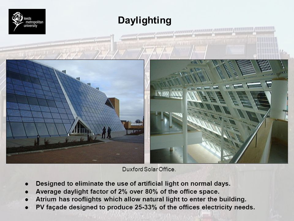Daylighting Duxford Solar Office. Designed to eliminate the use of artificial light on normal days.