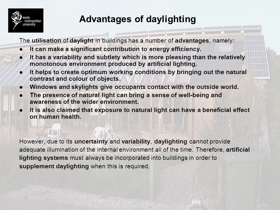 Advantages of daylighting
