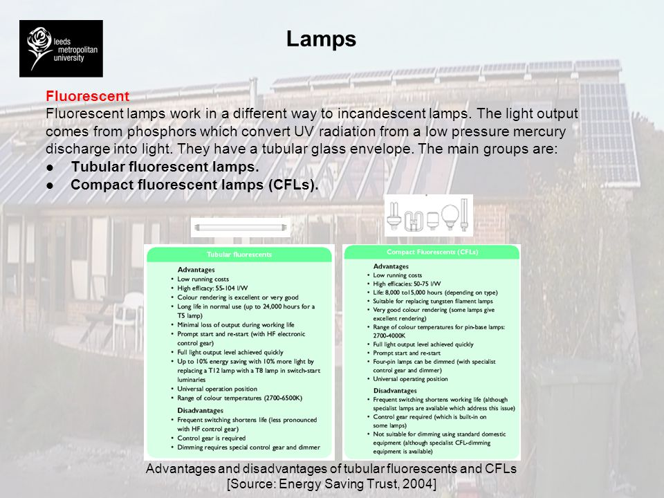 Lamps Fluorescent. Fluorescent lamps work in a different way to incandescent lamps. The light output.