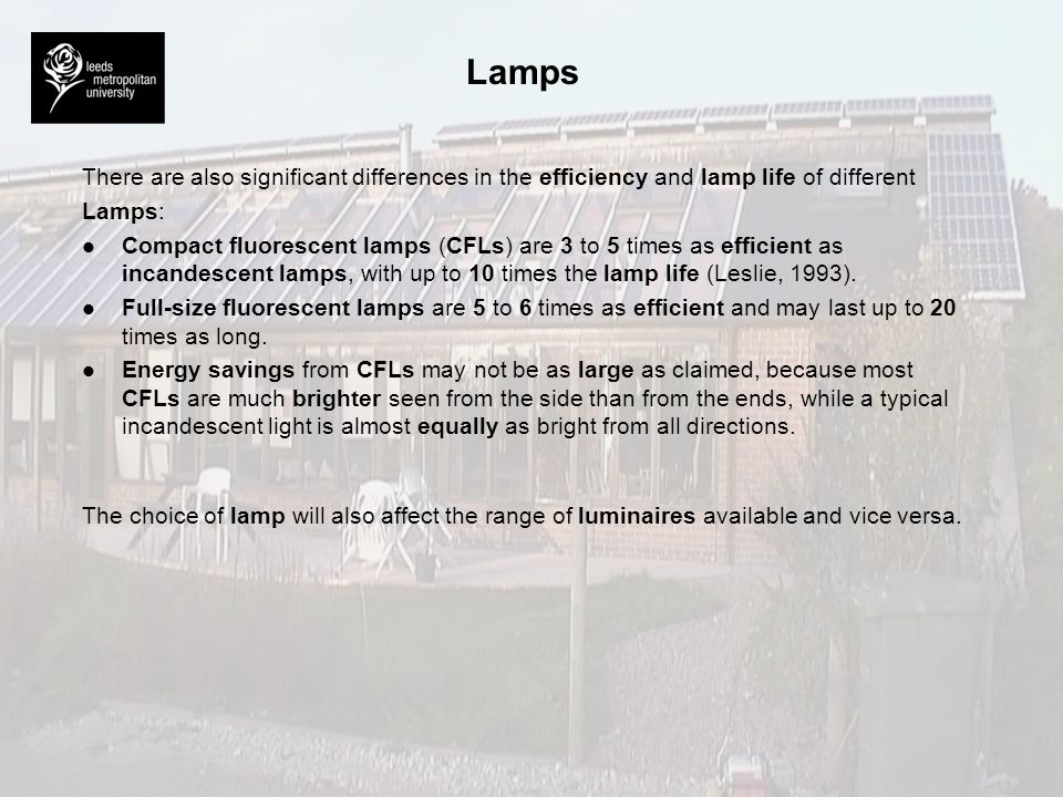 Lamps There are also significant differences in the efficiency and lamp life of different. Lamps: