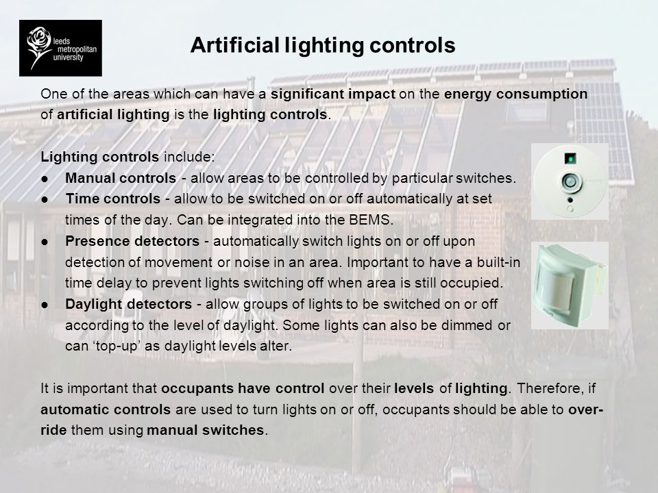 Artificial lighting controls