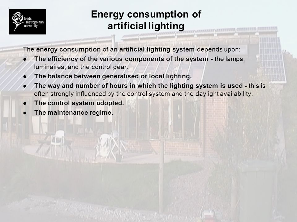 Energy consumption of artificial lighting