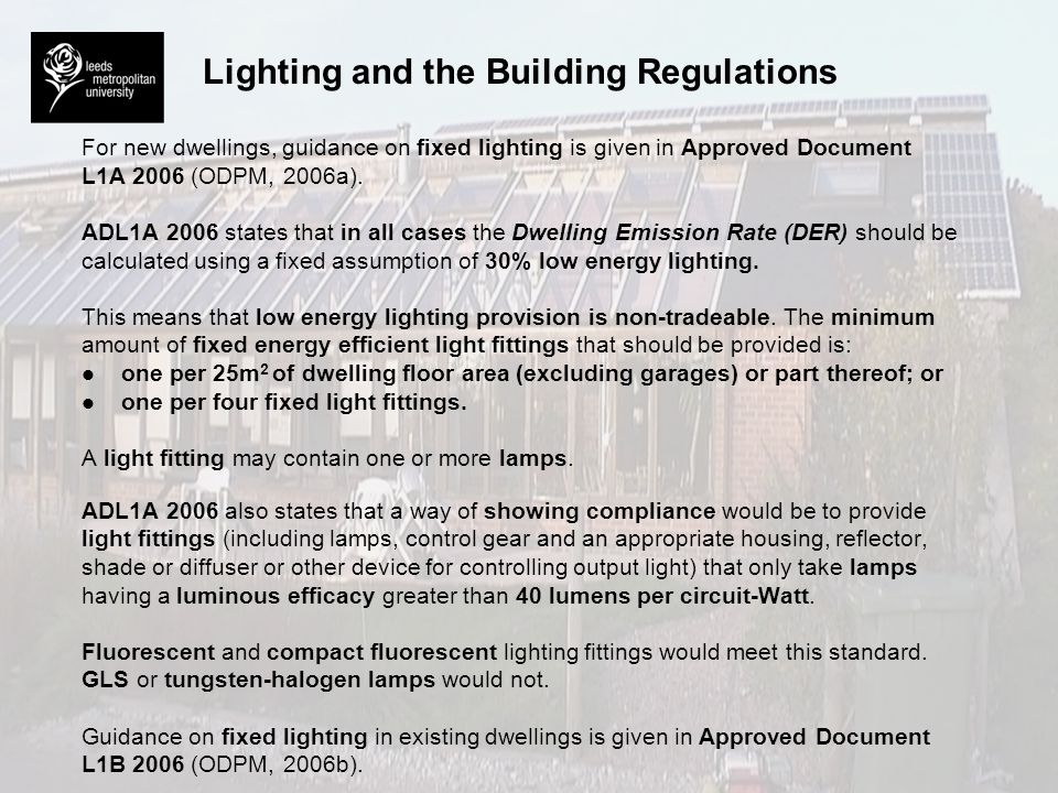 Lighting and the Building Regulations