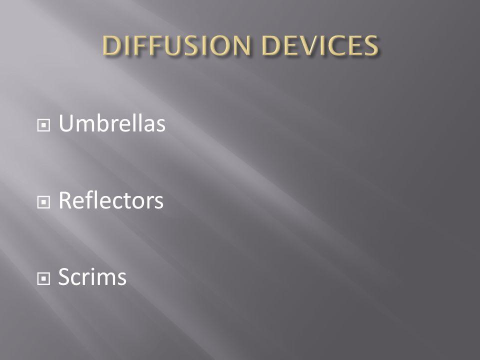 DIFFUSION DEVICES Umbrellas Reflectors Scrims