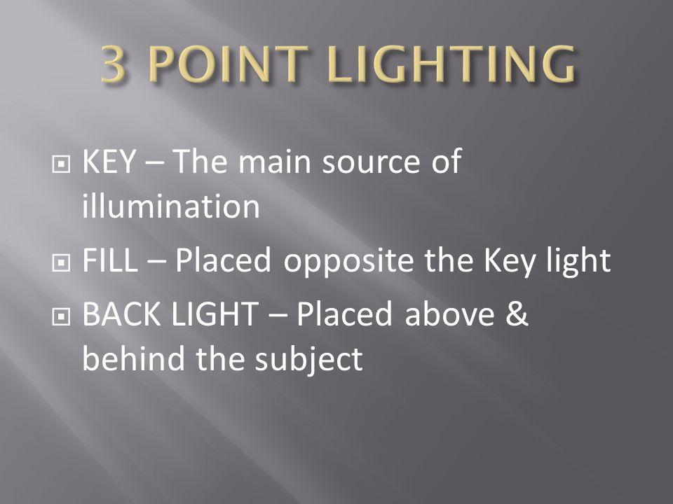 3 POINT LIGHTING KEY – The main source of illumination