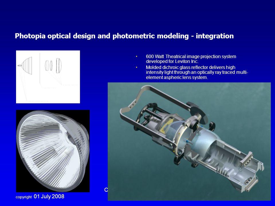 Photopia optical design and photometric modeling - integration