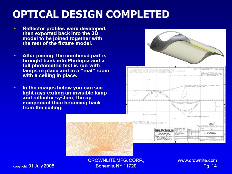 OPTICAL DESIGN COMPLETED