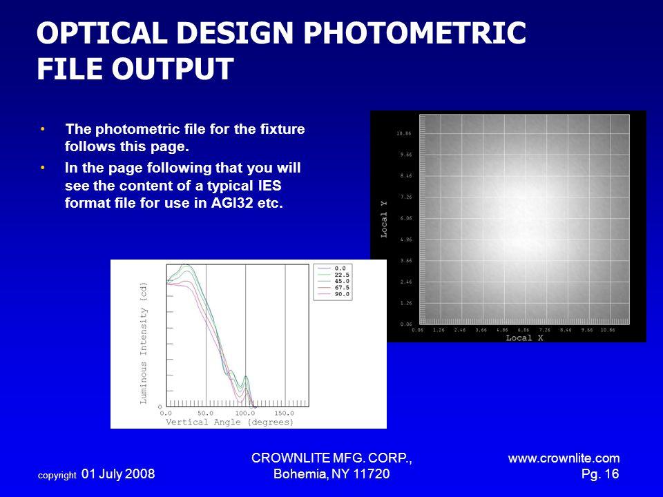 OPTICAL DESIGN PHOTOMETRIC FILE OUTPUT