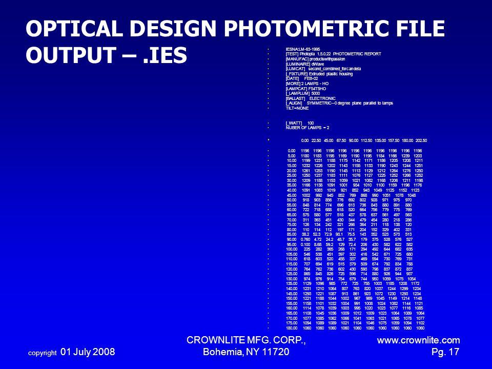 OPTICAL DESIGN PHOTOMETRIC FILE OUTPUT – .IES