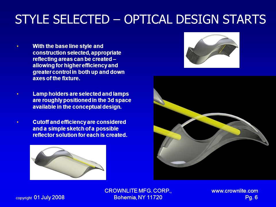 STYLE SELECTED – OPTICAL DESIGN STARTS