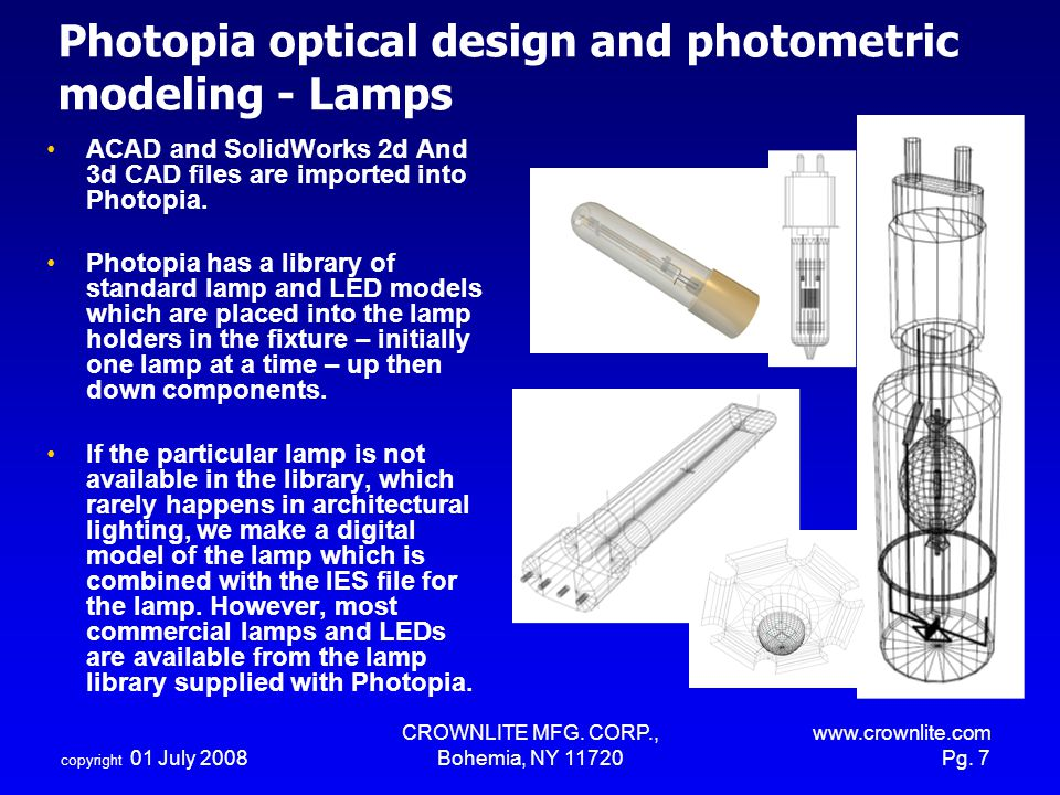 Photopia optical design and photometric modeling - Lamps