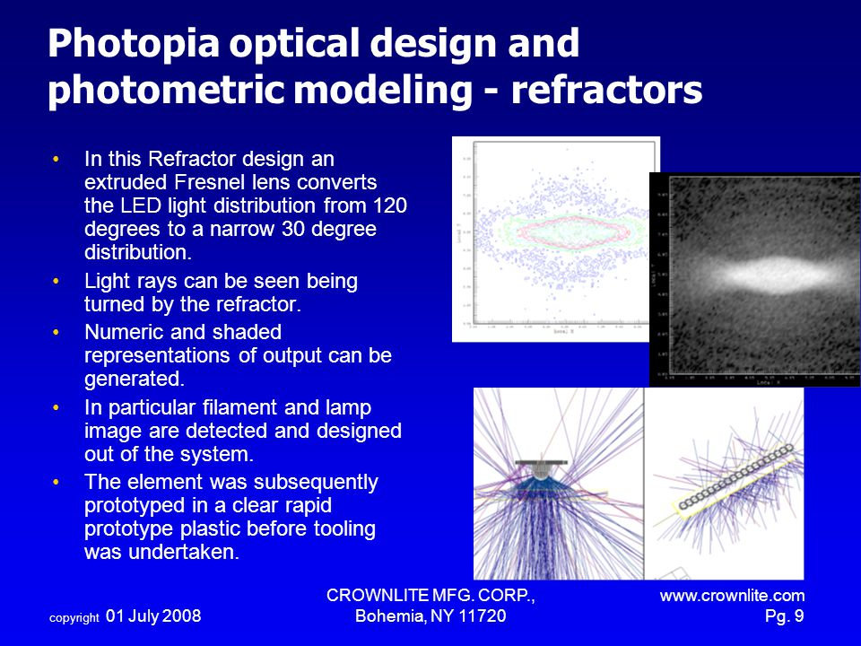 Photopia optical design and photometric modeling - refractors