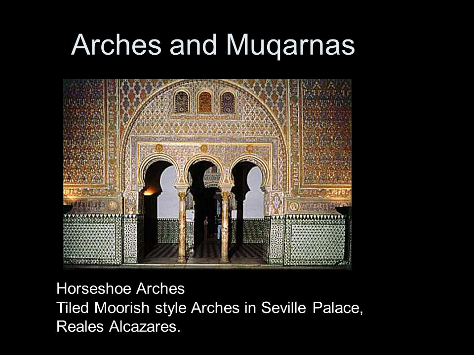 Arches and Muqarnas Horseshoe Arches Tiled Moorish style Arches in Seville Palace, Reales Alcazares.