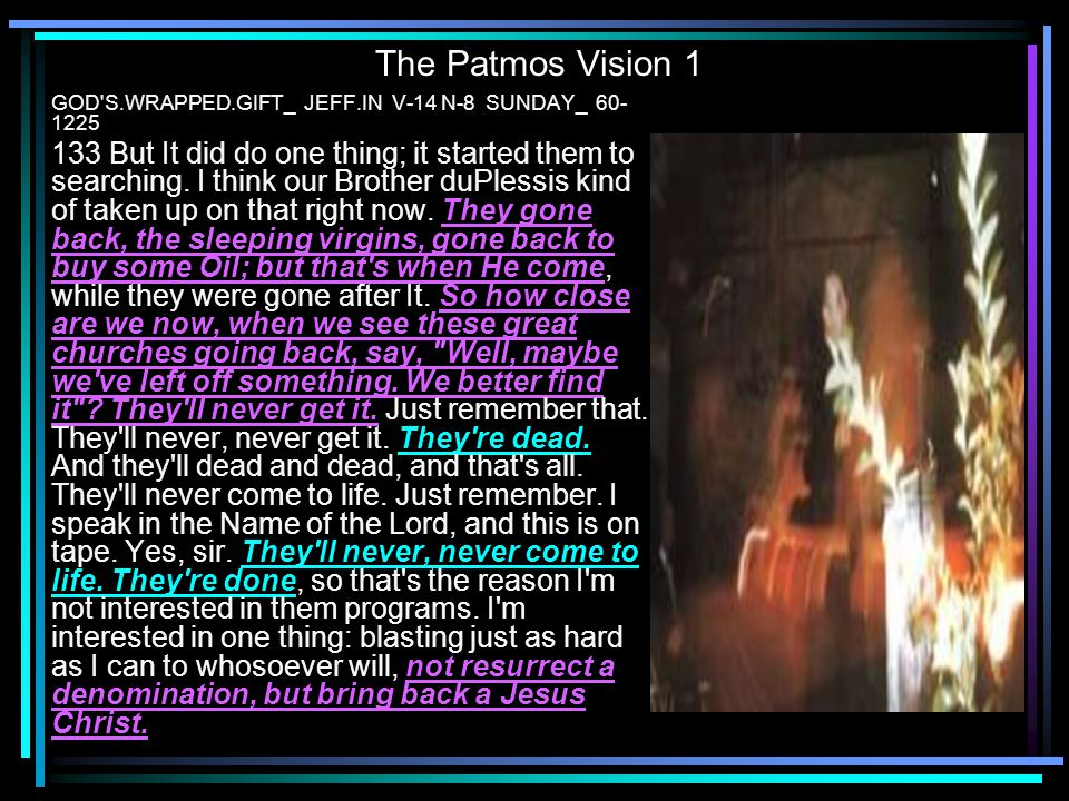 The Patmos Vision 1 GOD S.WRAPPED.GIFT_ JEFF.IN V-14 N-8 SUNDAY_ 60-1225.