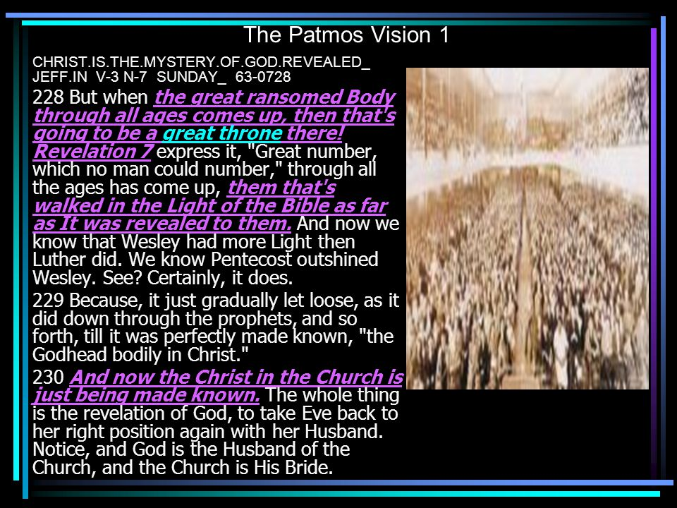 The Patmos Vision 1 CHRIST.IS.THE.MYSTERY.OF.GOD.REVEALED_ JEFF.IN V-3 N-7 SUNDAY_ 63-0728.