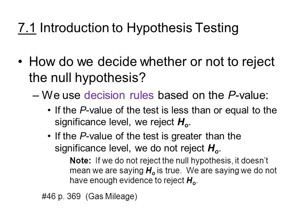 7.1 Introduction to Hypothesis Testing